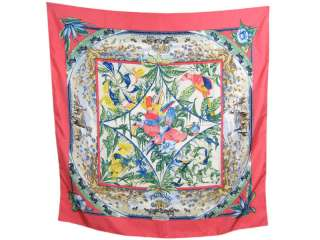 Authentic HERMES Pink Tropiques Silk Scarf 35
