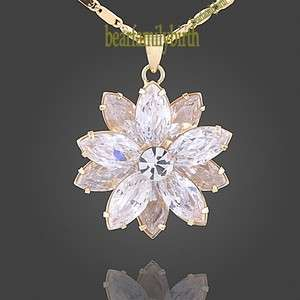 18K yellow gold Gp Swarovski Crystal necklace 800