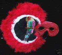 Red Parrot Head Sequin Masquerade Mask Buffet Costume