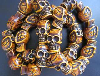 Mans cool skull beads jewelry yak bone biker bracelet #1