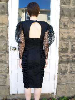 black sheer LACE puff sleeve party Cocktail ruched DRESS XS/S 7 prom