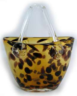 Gold GLASS LEOPARD ANIMAL PRINT BASKET VASE HANDBAG BAG