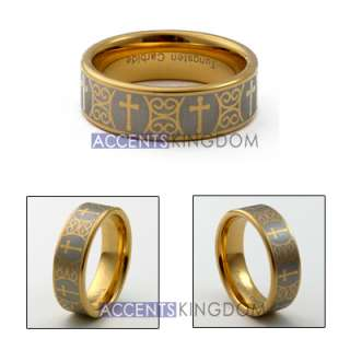 8MM MENS TUNGSTEN CARBIDE GOLD TONE CROSS WEDDING RING