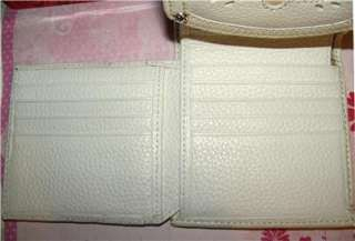 Cream Leather Multi Section Wallet w/Cut Out Designs $92.00