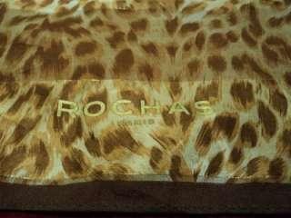 ROCHAS PARIS LEOPARD PRINT CHIFFON SILK SCARF WRAP SHAWL FOULARD 34 x
