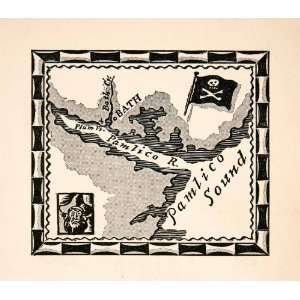 1930 Lithograph Treasure Map Pamlico Sound River Bath