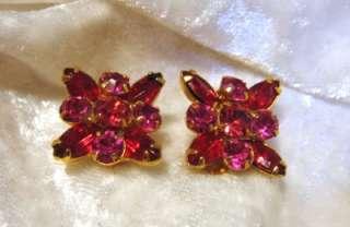 Vintage Weiss Pink Red Rhinestone Clip On Earrings