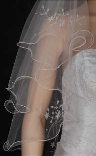 2T White/ Ivory Wedding Bridal Veil Flowers Beads s45s