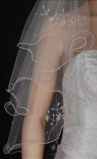 2T White/ Ivory Wedding Bridal Veil Flowers Beads s45s