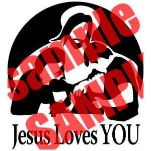 JESUS LOVES YOU CHRISTIAN WHITE VINYL DECAL STICKER