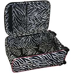 Flyer Pink Zebra Print 5 piece Spinner Luggage Set