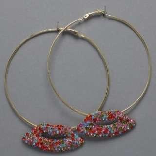 Basketball Wives inspired Crystal Lip Hoop Earrings HOT