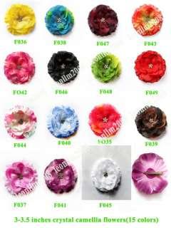 20 baby girl crystal Flowers hair bow clip 3 3.5