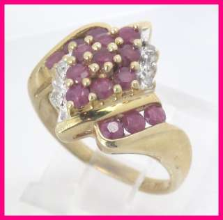 Ladies 10k Yellow Gold Diamond Ruby Cluster Ring .87 ct