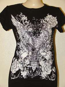 WOMENS BIKER HEART W/ WINGS, ROSES & CHAINS T SHIRT