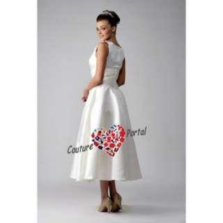 line Scoop Tea length Satin Wedding Dress