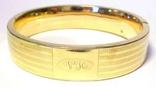 Antique Bates & Bacon Gold Filled Hinged Bangle Bracelet w/ Initials