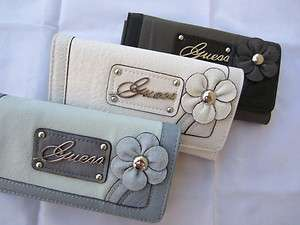 NWT GUESS BAYFIELD wallet purse clutch FLOWER slim small BLACK WHITE
