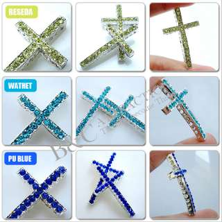 clear Crystal 12 color European CROSS charm Loose Beads fit Bracelet