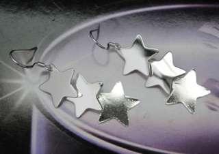 925 Sterling Silver Plated Star Dangle Earrings JE197
