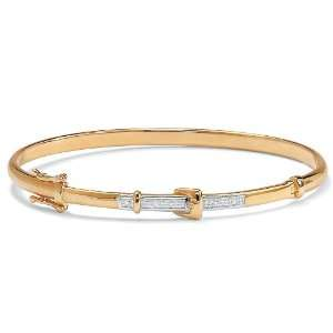 Jewelry Diamond Acc. 10k Gold Buckle Bangle Bracelet 7 1/4 Jewelry