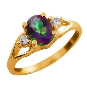 1.68 Ct Oval Green Mystic Topaz and Topaz Gold Plated
