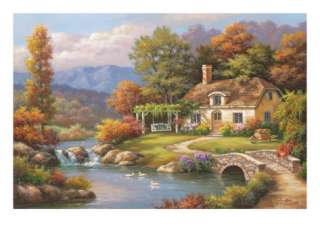 Cottage Stream Giclee Print by Sung Kim at AllPosters