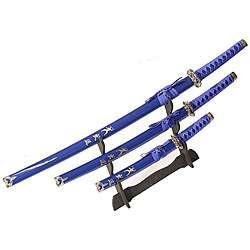 Ninja Symbol 3 piece Blue Samurai Sword Set