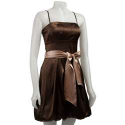 Oleg Cassini Womens Brown Stretch Satin Dress