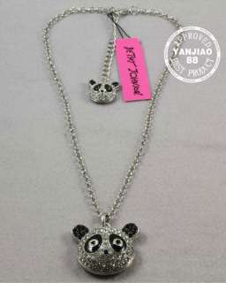 Free Ship Betsey Johnson Crystal Panda Necklace Earrings Bracelets Set
