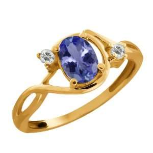 0.83 Ct Oval Blue Tanzanite and White Topaz 14k Yellow