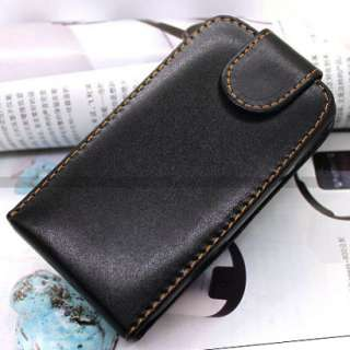 Black Flip Leather Case Cover for HTC Wildfire G8