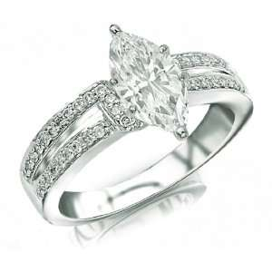 0.61 Carat Elegant 14k White Gold Engagement Ring Jewelry