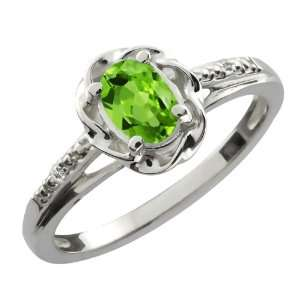 0.51 Ct Oval Green Peridot White Topaz Sterling Silver