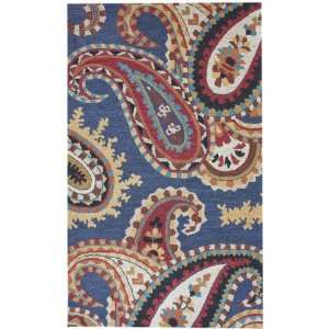 NEW Hand Tufted Wool Carpet Area Rug 5x8 Blue Paisleys