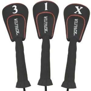 North Carolina State Wolfpack Black Three Pack Golf Club Headcovers