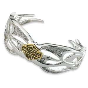 Sterling Silver Harley Davidson Ladies Tribal Bracelet: Jewelry