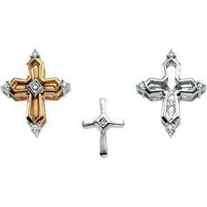 14K White Gold Diamond Unity Cross Pendant   Inside Only