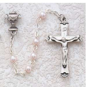 com Sterling Silver 5mm Pink Pearl Communion Rosary Necklace Jewelry