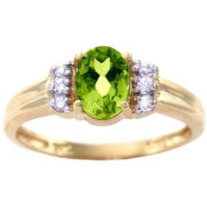 Yellow Gold Oval Gemstone and Diamond Engagement Ring Peridot, size5.5