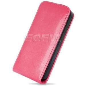 NEW PINK GLOSSY LEATHER FLIP CASE COVER FOR iPHONE 4 4G Electronics
