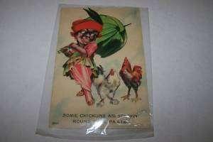 1900s BLACK AMERICANA postcard CHICKENS |