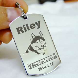 Pet ID Tags Dog Name Tag Stainless Steel Custom Engrave Dog Tag Silver
