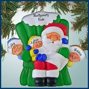Personalized Christmas Ornaments   Santa and Three Kids   Personalized