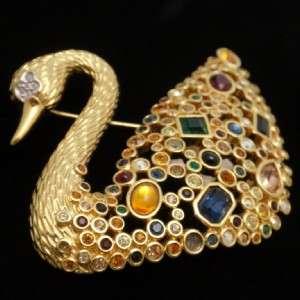 Swan Brooch Pin Vintage Swarovski Multi Color Crystals