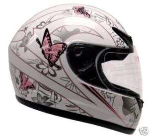 Pink White Butterfly Motorcycle Full Face Helmet DOT ~M