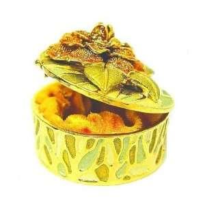 Yellow Peony Flower Box Swarovski Crystals 24K Gold Jewelry, Trinket