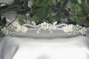 CLEAR AUSTRIAN RHINESTONE CRYSTAL IMITATED PEARL HEADBAND TIARA BRIDAL