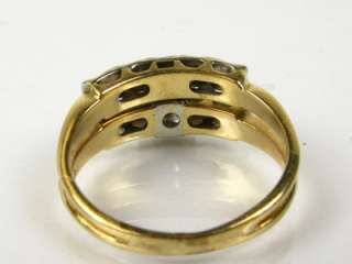 Vintage .16ctw Natural Diamond 14k 2 Tone Gold Wedding Ring Set 4.4g