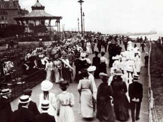 Edwardian Ladies and Gentleman Walk up and Down the Promenade, 1905